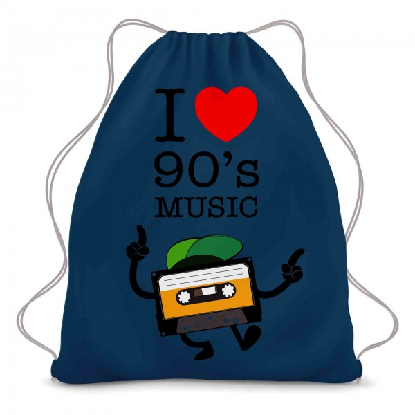 I Love 90s Music Kassette Turnbeutel
