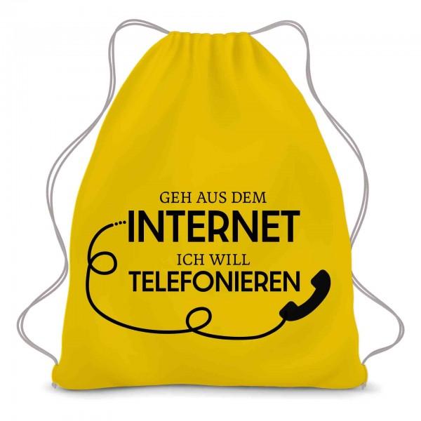Geh raus aus dem Internet ich muss telefonieren Retro Telefon Turnbeutel