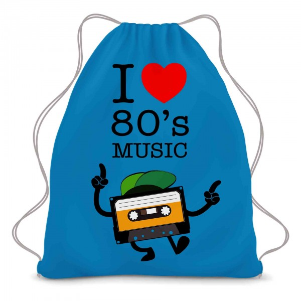 I Love 80s Music Kassette Turnbeutel