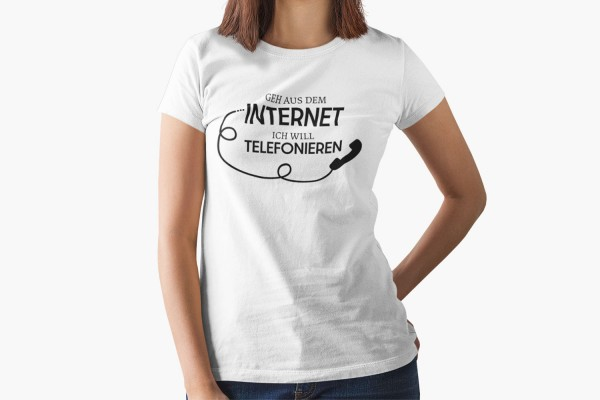 Geh aus dem Internet ich will telefonieren - Retro Telefon Shirt Frauen