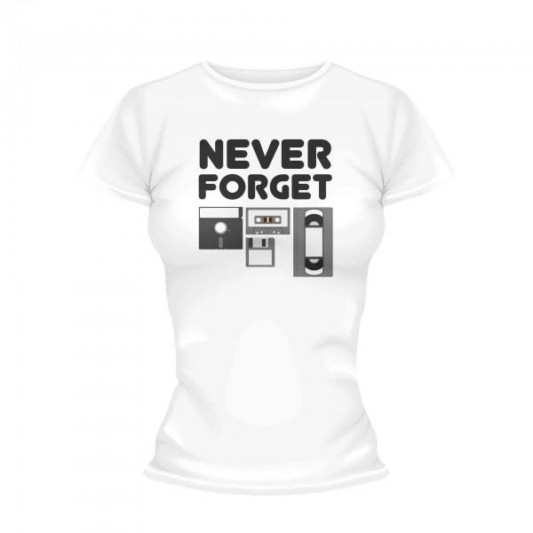 Never Forget schwarz weiß Shirt Frauen